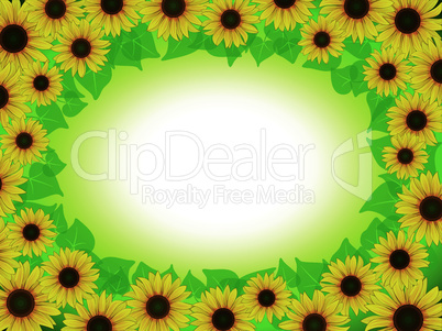 yellow sunflower postcard frame background pattern
