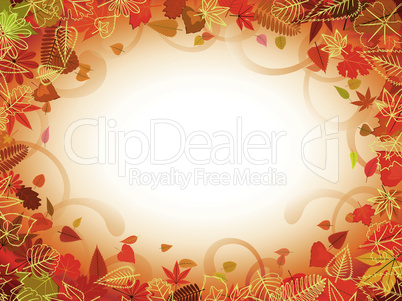 Autumn leaf frame with space for text pattern