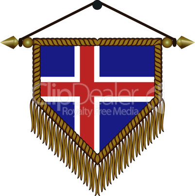 pennant with the national flag of Iceland