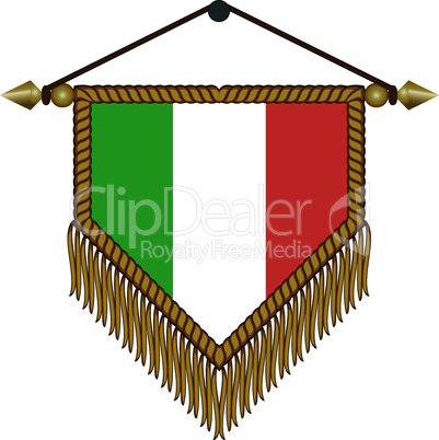 pennant with the national flag of Italy