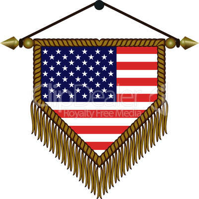 pennant with the national flag of USA America