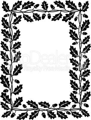 oak leaf frame black silhouette isolated