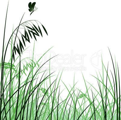 grass silhouettes background pattern with butterfly