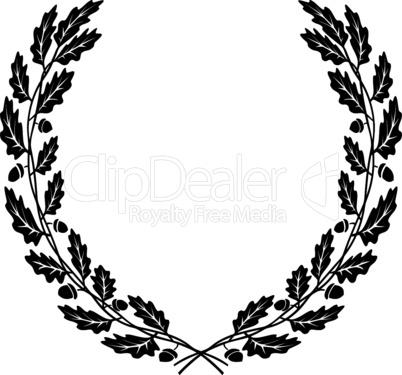 wreath of oak leaves black silhouette