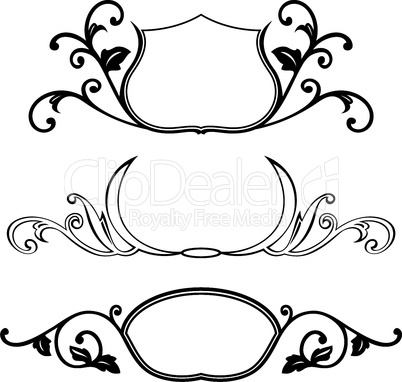 set of decorative frame with floral element