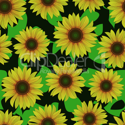 yellow sunflower flower seamless background pattern