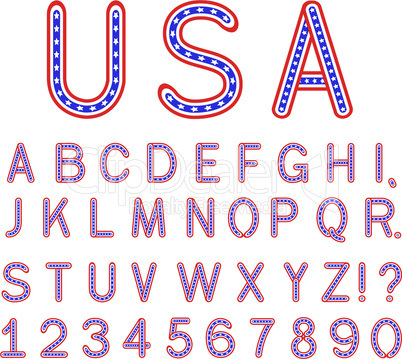USA symbol alphabet letters font isolated