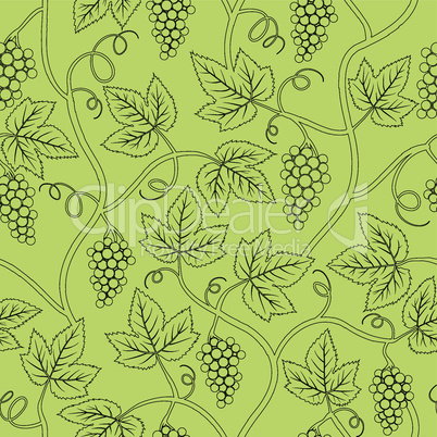 black silhouette calligraphy grape branch seamless background