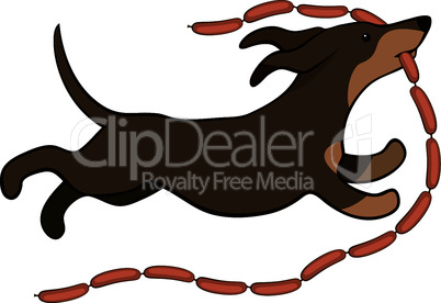 lucky dog runing with sausages vector illustration