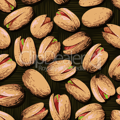 Background of delicious pistachio nuts. Food texture.
