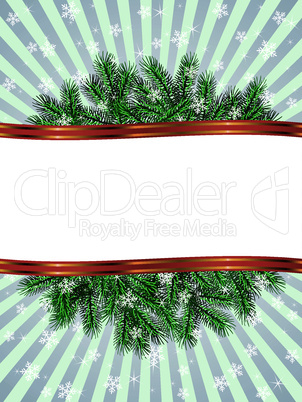 christmas with fir branch pattern frame