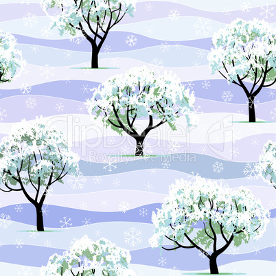 winter garden tree snow covered seamless background