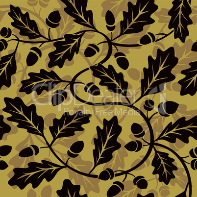 oak leaf acorn seamless background pattern