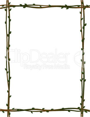 twig sprig frame pattern background isolated
