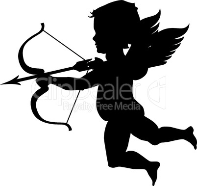 cupid black silhouette isolated on white