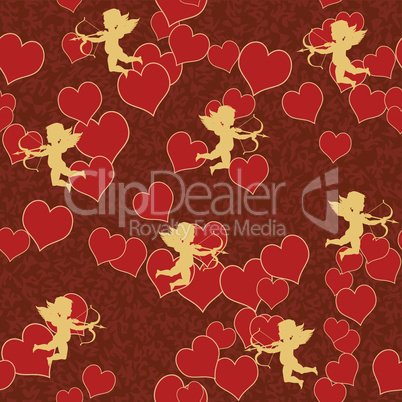 vector cupid with heart seamless background pattern