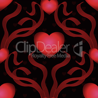 red heart with ribbons seamless background
