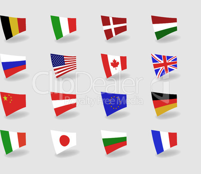 Vector set icons flags