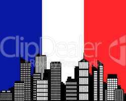 City und Fahne von Frankreich