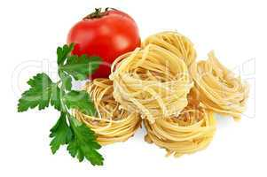 Noodles twisted with tomato and parsley