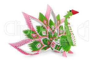 Origami_green-pink bird