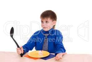 boy with a big spoon