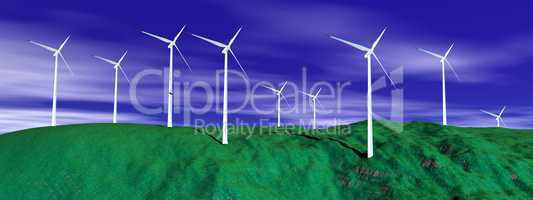 Wind turbines in nature