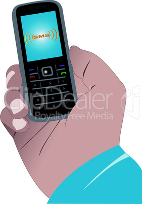 Hand with a mobile phone