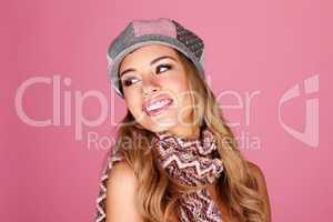 Fashion Model In Winter Accessories