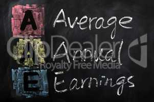 Acronym of AAE for Average Annual Earnings