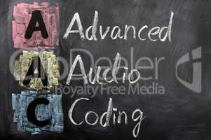 Acronym of AAC for Advanced Audio Coding