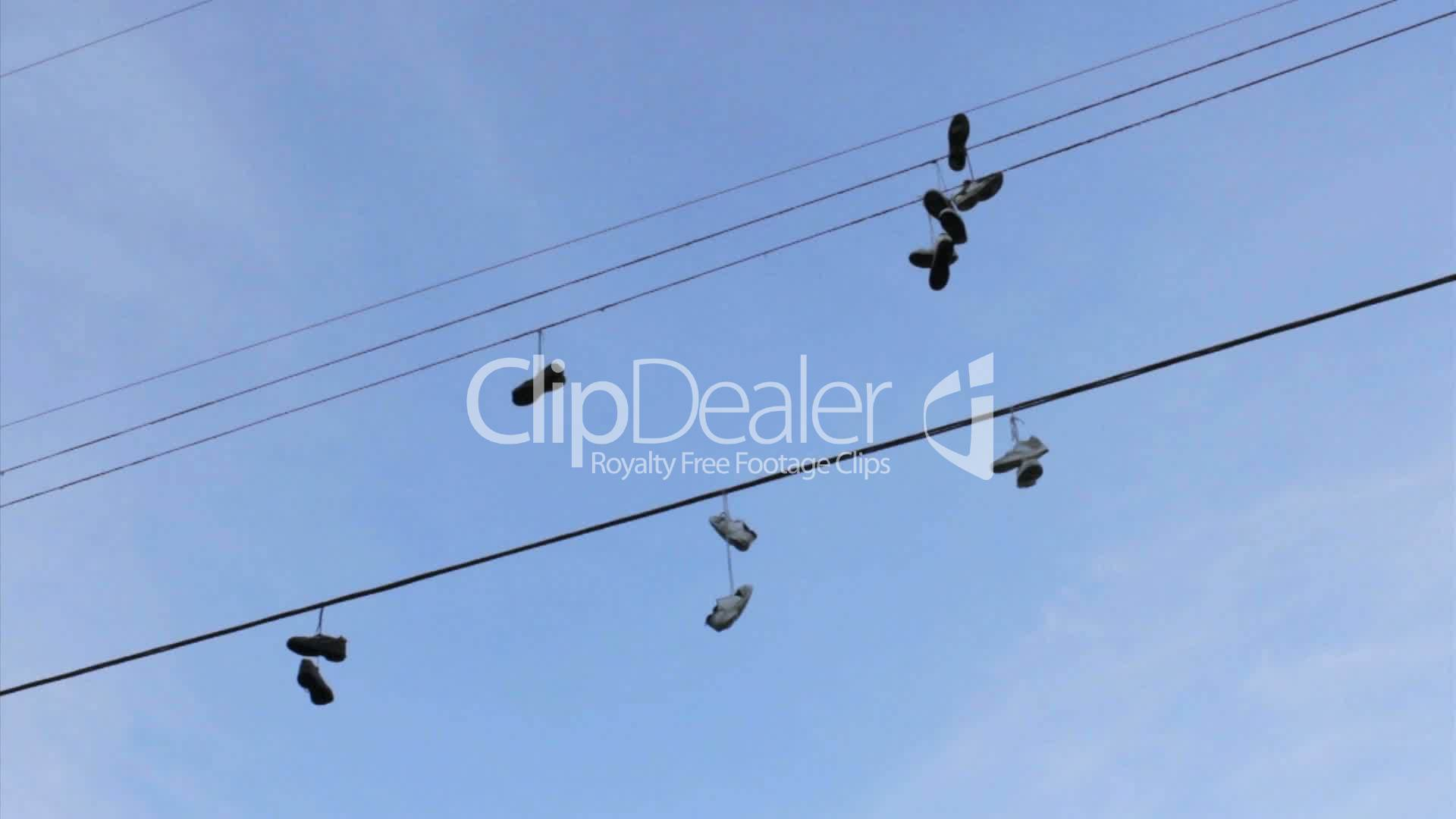 Running Shoes Hanging From Telephone Wires Royalty Free Video And Wiring Cable Line