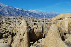 Bizarre rock formations, Alabama Hills and Sierra Nevada, California