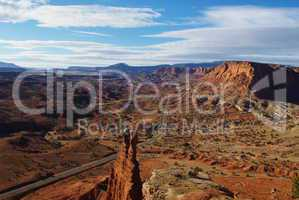 Tower Rock and Highway, Capitol Reef National Park, Utah