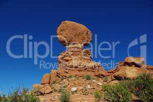 Balanced Rock and blue sky, Arches National Park