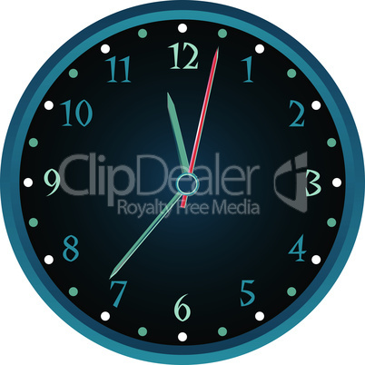 Vintage wall blue clock isolated on white