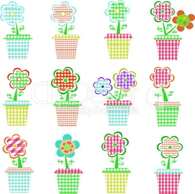 A set of colorful pots of flowers. Vector illustration