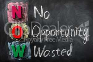 Acronym of NOW for No Opportunity Wasted