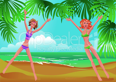 2 girls on tropical beach