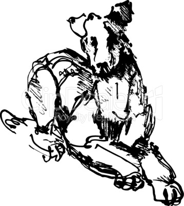 ink sketch of dog: playing young terrier (black and white picture