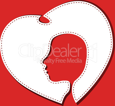 female face head in a white heart vector