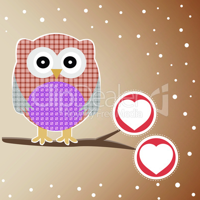 Cute Owl On The Branch with love heart. vector