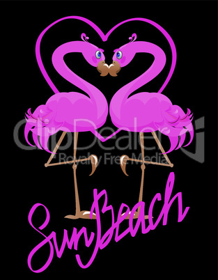 couple of pink flamingos and heart (I love Sun Beach)