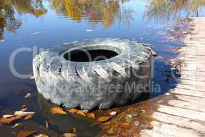 The big tire from the car.