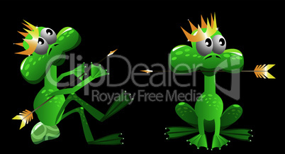 king frog cartoon with arrow and crown