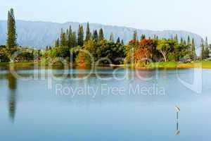 Na Pali mountains and lake