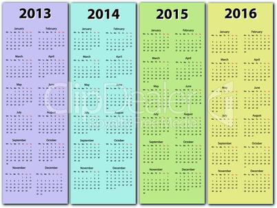 Calendar 2013 - 2016
