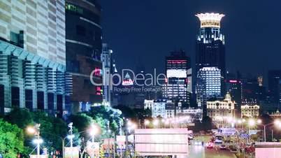 traffic in shanghai at night, time lapse