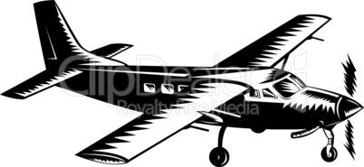 propeller airplane retro woodcut