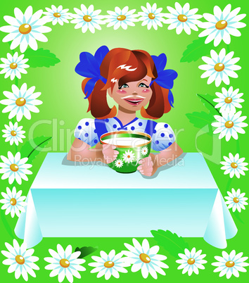 girl with cup of milk and camomile border